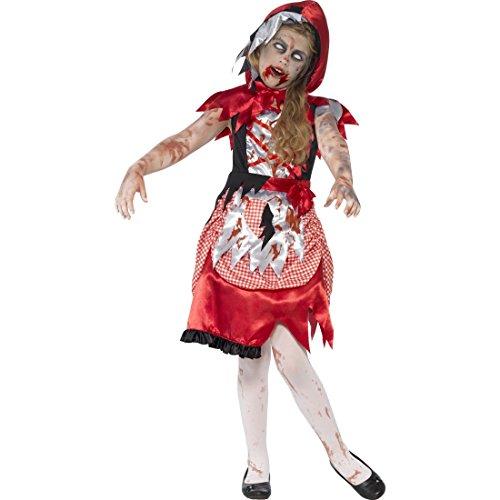 NET TOYS Halloweenkostüm Horror-Rotkäppchen Zombie Kinderkostüm S, 4 - 6 Jahre, 115 - 128 cm böses Rotkäppchen Kleid Zombiekostüm Märchen