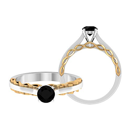 April Piedra de nacimiento — Solitario corte redondo 5 mm anillo de diamante negro con diamante, anillo de compromiso de dos tonos, 14K Oro amarillo, Size:EU 50