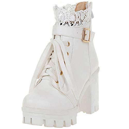 LUXMAX Damen High Heels Ankle Boots mit Spitze Schnürung Blockabsatz Plateau Stiefeletten Hochzeit Schuhe(Weiß 38)