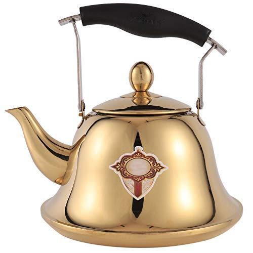 Kuinayouyi Hervidor silbador para estufa de gas 2L acero silbato té hervidor botella de agua titanio dorado