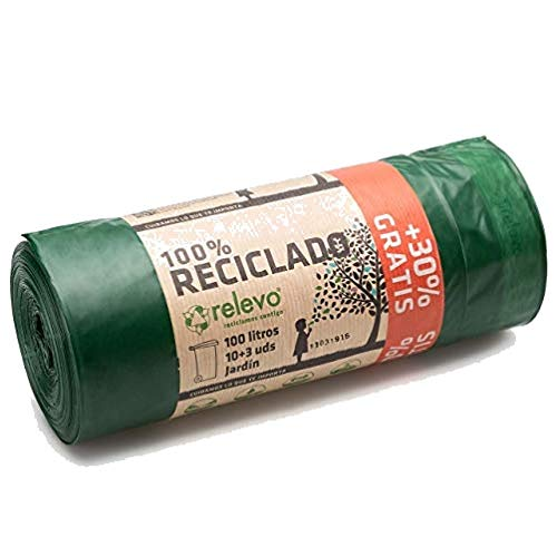 Relevo Sacs Poubelle 100% recyclés, très résistant 100L, 13 pièces