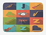Music Bath Mat, Colorful All Jazz Equipment Set on Flat Design Funky Music Symbols Graphic Design, Plush Bathroom Decor Mat with Non Slip Backing, 23.6 W X 15.7 W Inches, Multicolor