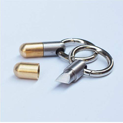 Angoter Edelstahl Multi-funktions-EDC Tragbare Tinying Miniwerkzeug, Schlüsselanhänger Schneidewerkzeug, Kapsel Messer