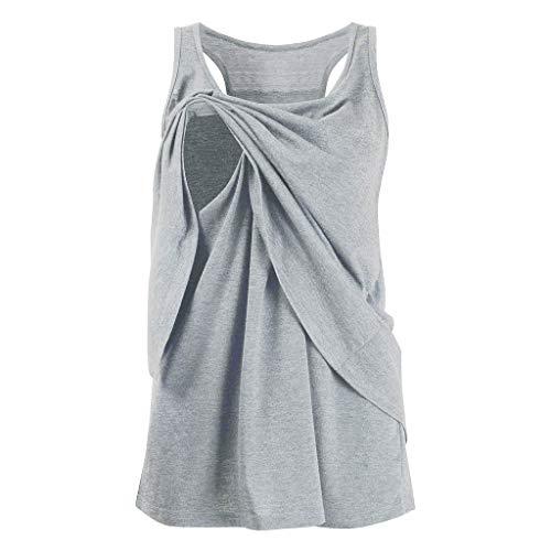 Amphia - Damen Mutterschaft Pflege Wickel Doppelschicht ärmellose Bluse T Shirt - Frauen Schwangere Frauen Solid Color Stillen ärmellose Weste Top