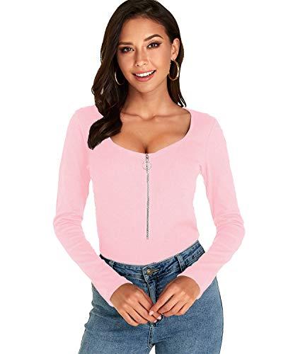 VONDA Oberteile Damen Sexy Langarmshirt Casual Slim Fit Bluse Rundhals Elegant Shirt Tops mit Reißverschluss A-Rosa M
