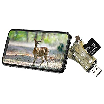 Liplasting Trail Game Camera Viewer SD Card Reader for iPhone iPad Mac & Android, 4 in 1 SD/Micro SD/TF Memory Card Reader Adapter to View Hunting Game Camera Photos or Videos on Smartphone