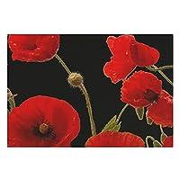 リネンPlaceMats4のセット、赤いケシの花カラフルな花の抽象的な黒い滑り止めのプレースマットダイニングキッチンレストランテーブル農家の結婚式屋外屋内