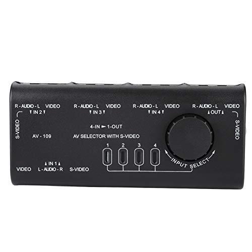 Mxzzand Selector De Interruptor De Audio, Caja De Interruptor De Diseño Compacto De Múltiples Pantallas Divisor De 4 Vías A Prueba De Golpes con Caja De Divisor De 3 Vías para AV