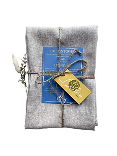 Linen Kitchen Towels | Made in Canada | 30x20 Inches | Pack of 2 | Lint-Free Dish Cloth | Lightweight European Fabric | Flax Tea Towel, Napkin | Table Setting Accessories | Wedding Gift