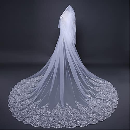 GUTYRE Velo nupcial, accesorios de boda de cola europea y americana, exquisito encaje de lentejuelas, velo de diamante, con velo, beige