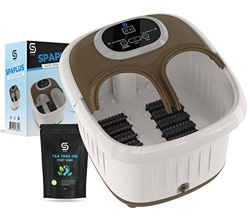 SpaPlus FootSpa Massager with Soak Salt for Stress Relief - with Foot Massage Rollers - Foot Care - Heated Foot Bath & Massage- Vibrating Action -Foot Soak for Better Stress Relief