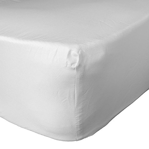 Brentfords Plain Dye Bed Fitted Sheet Soft Microfibre, White, Single