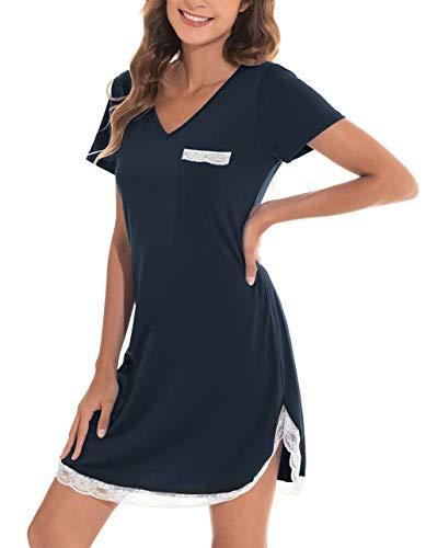 Nachthemd Sleepshirt Damen Kurzarm Nachtwäsche Nachtkleid Aus Baumwolle Rundhals Lässige Schlafhemd Schlafanzug Mit Vordertasche Für Sommer