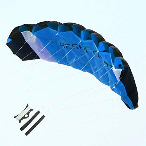 Besra Huge 74inch Dual Line Parachute Stunt Kite with Flying Tools 1.9m Power Parafoil Kitesurfing Training Kites Outdoor Fun Sports (Blue)