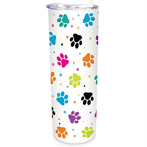 SassyCups Dog Tumbler with Straw | Vacuum Insulated Stainless Steel Dog Themed Skinny Tumbler Cup | Cute Mug For Dog Lover | New Dog Owner | Dog Items For Women | From Dog 20 oz Colorful