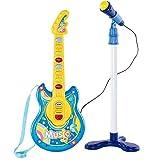 BAKAJI Chitarra Elettrica + Microfono Karaoke Giocattolo Bambini con 8 Pulsanti Note 12 Canzoni Demo Effeti Luce Altezza Microfono Regolabile con Attacco Aux Mp3 Smartphone Tablet