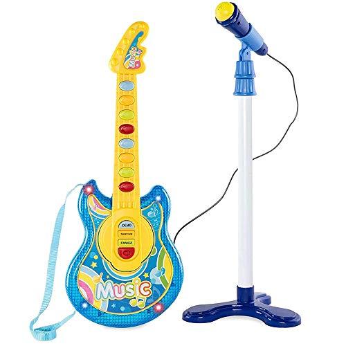 BAKAJI Chitarra Elettrica + Microfono Karaoke Giocattolo Bambini con 8 Pulsanti Note 12 Canzoni Demo Effeti Luce Altezza...