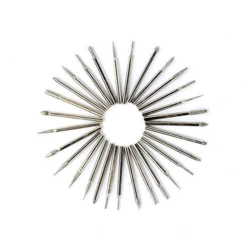GFHDGTH 30pcs 3.0mm schacht diamant bramen, voor stenen glas graveren polijsten slijpen snijwerk roterende gereedschap bit roterende bestand bramen