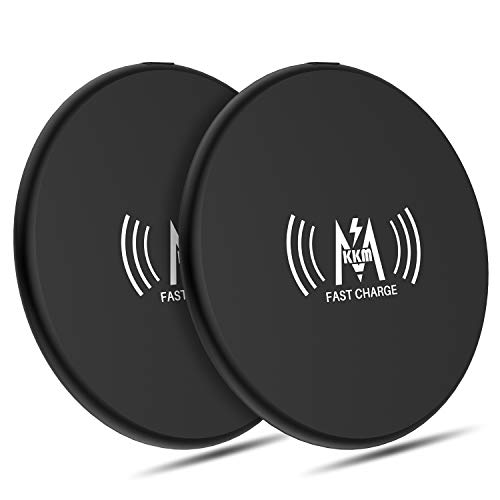 KKM Wireless Charger (2 Pack), 10W Qi-Certified Fast Charging Pad for iPhone SE 2020/11 Pro Max/X/XR/8, Samsung Galaxy Note 20/Note 20 Ultra, OnePlus, Google Pixel and More Qi Enable Phones