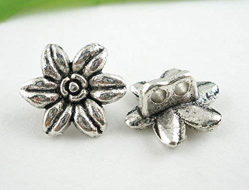 CansyY 10 Stück Metallknöpfe, antiksilber, Blumenmuster, Ø ca. 14mm, Lochgröße 1,9mm