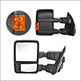 Perfit Zone Towing Mirrors Replacement Fit for 2008-2016 F-250 F-350 F-450 F-550 SUPER DUTY,POWER HEATED W/AMBER SIGNAL,BLACK (PAIR SET)
