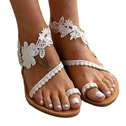 OocciShopp Sandales pour Femmes, Chaussures d'été pour Femmes à Bout Ouvert en Dentelle Plate à Fleurs Blanches Sandales en Cuir de Mariage Sandales à Talons en Cuir Sandale (36)