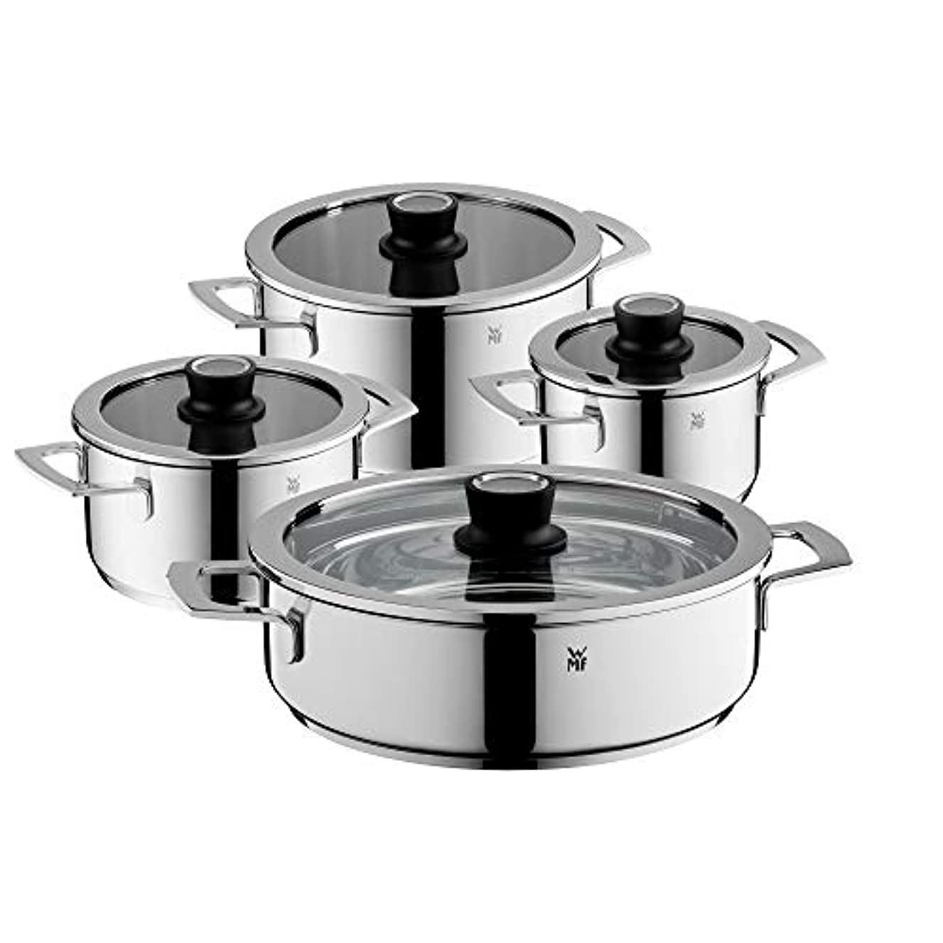 WMF Vari Ocuisine Saucepan Set, Set of 4?with Glass Lid and Thermometer, Stainless Steel, Silicone Rim, Dishwasher Safe