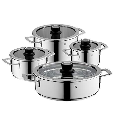 WMF VarioCuisine Lot de 4 casseroles à induction avec couvercle en verre Silence en acier inoxydable Cromargan poli, thermomètre, casseroles non revêtues