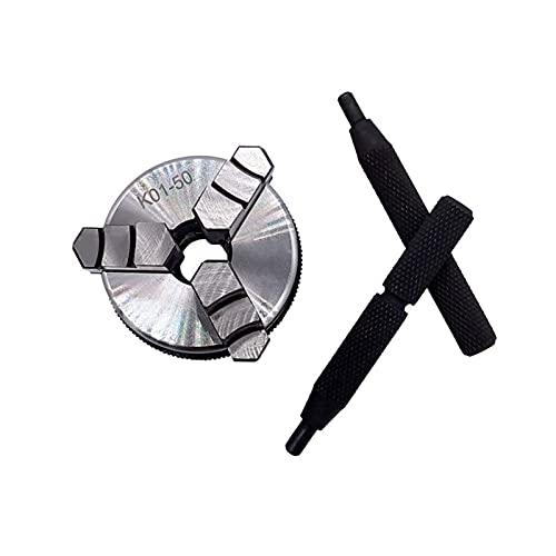 La estructura compacta es fácil para usted llevar una tienda a K01-50 Torno Mini Chuck 3 Jaws Chuck de la mano de la madera con la barra de tornillo de la rosca de montaje Agocinear el torno Herramien