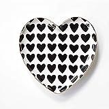 L-WSWS En Forma de corazón de Oro nórdico Placa de cerámica Negro y Negro Placa del Desayuno de Frutas Merienda Plato Vajilla Plato de Fruta Seca