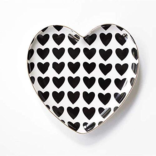 KAIBINY YY En Forma de corazón de Oro nórdico Placa de cerámica Negro y Negro Placa del Desayuno de Frutas Merienda Plato Vajilla Plato de Fruta Seca