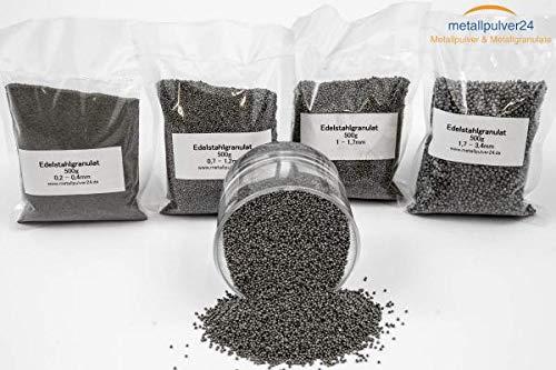 Edelstahlgranulat rund - 500 g WidthRange 0,2-0,4