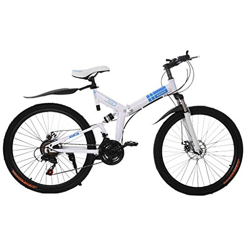 Gottifusion Adults Folding Mountain Bike,26 Inch Mountain Bike with 21 Speed Dual Disc Brakes Full Suspension Non-Slip,Outdoor Racing Cycling,High Carbon Steel Frame,Fast-Speed (B)