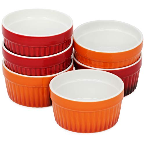 COM-FOUR® 6x bol à ailettes de ragoût - moules allant au four en rouge et orange - bol à crème brûlée - bol à dessert de 185 ml chacun