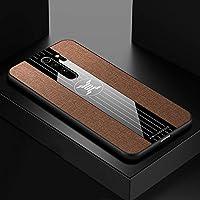 Fulvit for. Xiaomi Redmi Note 8 Proケース、ステッチ布のテクスチャ耐衝撃TPU保護カバーケース(ブラウン) ケース・カバー (Color : Brown)