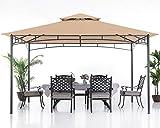 ABCCANOPY 10x12 Patio Gazebos for Patios Double Roof Soft Canopy Garden Backyard Gazebo for Shade and Rain, Khaki