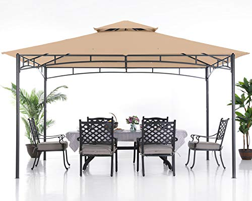 ABCCANOPY 10x12 Patio Gazebos for Patios Double Roof Soft Canopy Garden Backyard Gazebo for Shade and Rain, Khaki