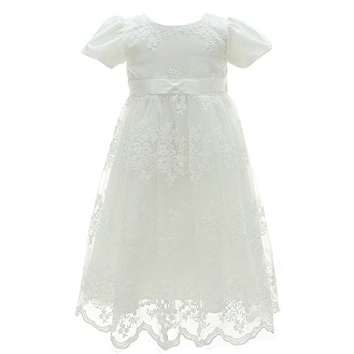 Coozy Baby Girl Dress Flower Christening Baptism Gown Formal Party Special Occasion Dresses For Toddler/Infant (Ivory, 12M/12-15months)