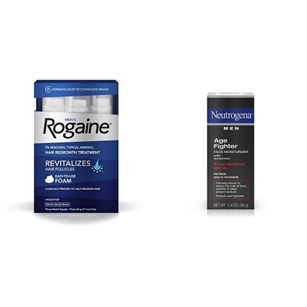 Men's Rogaine Hair Loss & Hair Thinning Treatment Minoxidil Foam and Age Fighter Face Moisturizer With Sunscreen Broad Spectrum Spf 15