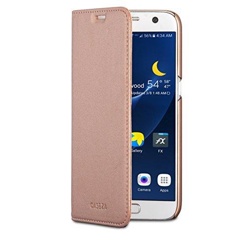 CASEZA Samsung Galaxy S7 Kunstleder Flip Case Oslo Rose Gold - Ultra schlanke PU Leder Hülle Ledertasche Lederhülle für das Original Samsung Galaxy S7 - Edles Cover mit Magnetverschluss