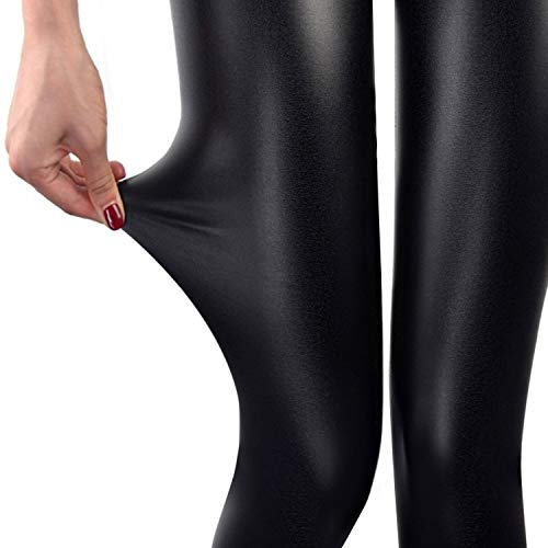 SHAPERIN Damen Lederhose Sexy Glänzende Treggings Clubwear Leggins in Lederoptik Streetwear Größe L