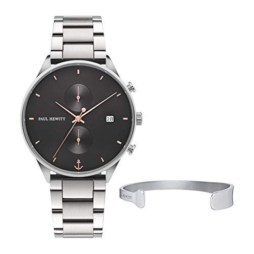 PAUL HEWITT Geschenk für Männer Perfect Match - Geschenk Box mit Armbanduhr (Chrono Line) und Armband (Paddle Cuff), Herren