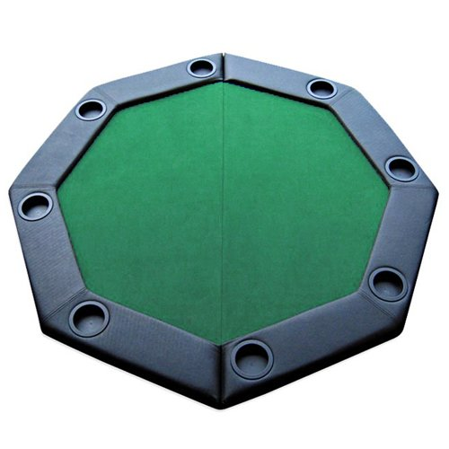 Brybelly 48' Green Folding Octagon Poker Table Top w/Cup Holders & Padded Rail