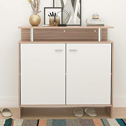 SogesPower 35.4 inches Storage Cabinet Console Table Kitchen Sideboard Buffet Office Storage Cabinet Cupboard with 2 Doors and Shelf, Teak&White, SPSZKST-DFC