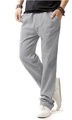 HOEREV Men Casual Strandhosen Leinen Hose- Gr. S (Taille 30-32 zoll), Grau