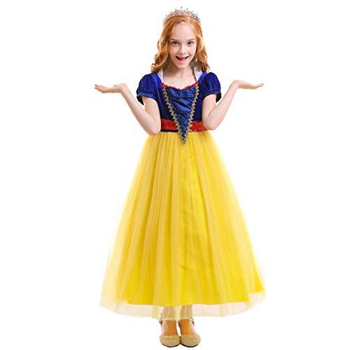 IWEMEK Vestidos de la Princesa Blancanieves Cuento de Hadas Disfraces para Halloween Cosplay Costume para Niñas Vestido de Fiesta Largo de Tulle Ceremonia Comunión Paseo Baile Pageant Amarillo 5-6