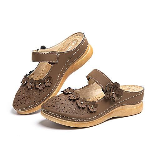 Sandali Donna Estivi Pantofole Piattaforma Zoccoli Zeppa Mules con Chiusura a Strappo Vintage CiabatteEleganti Scarpe Marrone Taglia43 EU
