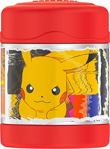 THERMOS FUNTAINER 10 Ounce Stainless Steel Vacuum Insulated Kids Food Jar, Pokemon