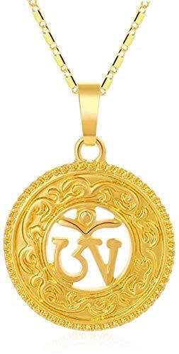NC110 Collar con Colgante Budista hindú Cristal Redondo Color Dorado hinduismo Yoga India Deportes al Aire Libre Mujeres YUAHJIGE