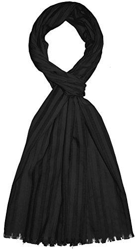 Lorenzo Cana Herren Schal aus feinster Baumwolle mit Seide aufwändig jacquard gewebte dezente Web Streifen Naturfaser Schaltuch Tuch schwarz black 55 cm x 180 cm - 8922711